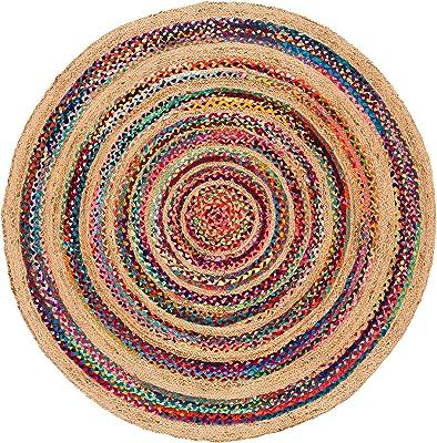Safavieh Fiber Round Collection Chindi & Jute Area Rug, 5', Pink/Natural