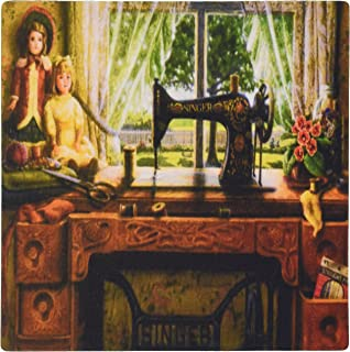 3dRose LLC 8 x 8 x 0.25 Inches Mouse Pad, Image of 1899 Singer Sewing Machine in Country Room (mp_100349_1)