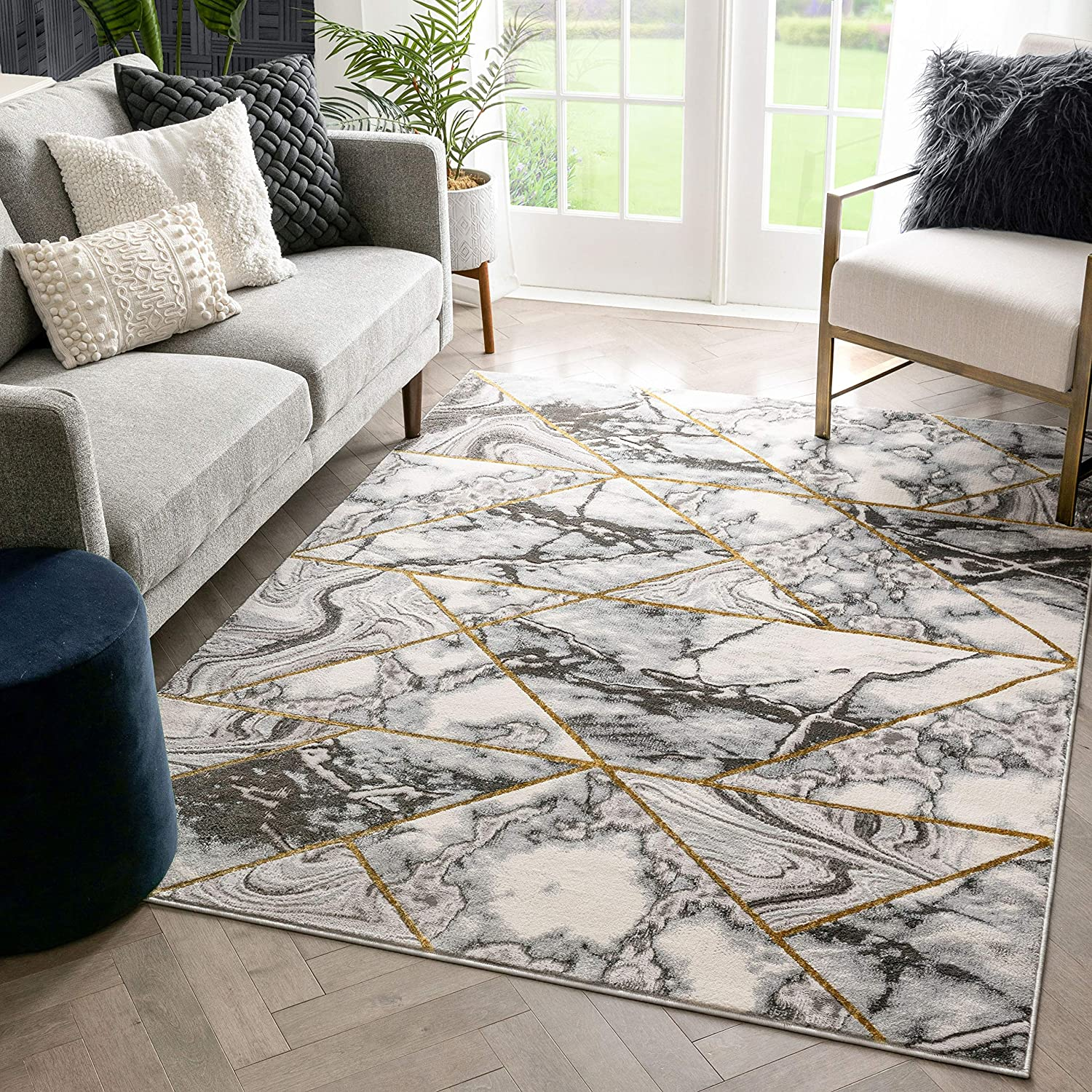 Well Woven Corbin quality assurance Popular shop is the lowest price challenge Grey Gold Retro Pattern Area R Border Marble
