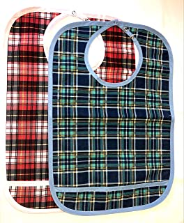 2 Pack - Adult Bib w/Pocket, Reusable Machine Washable, Mealtime Clothing Protector, Waterproof