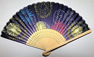 Daiso Japanese Folding Fan (Sensu): Handheld Fan: Fireworks Paintings Dark Purple Background with Colorful Fireworks Paintings