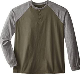 Hanes Men's Long-Sleeve Beefy Henley T-Shirt - X-Large - Camouflage Green/Oxford Gray