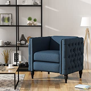 Christopher Knight Home Alice Modern Tufted Navy Blue Fabric Arm Chair