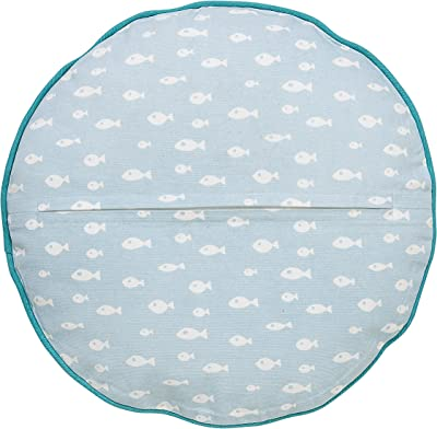 Bloomingville A95506268 Swimming Sea Otter Pillow with White Fish on Back