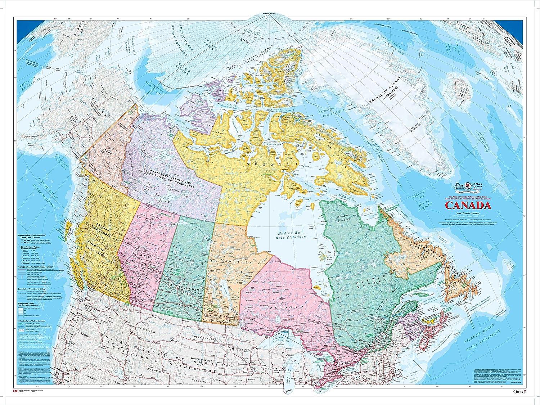 Canada Atlas Map Amazon.: Canada Wall Map (2009)   Bilingual   Atlas of Canada