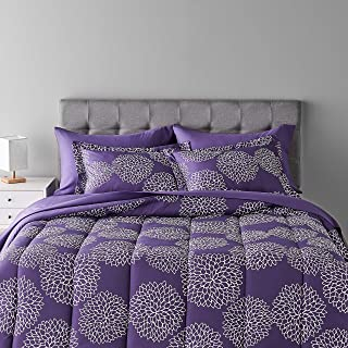 Amazon Basics 7-Piece Light-Weight Microfiber Bed-In-A-Bag Comforter Bedding Set - Full/Queen, Purple Floral