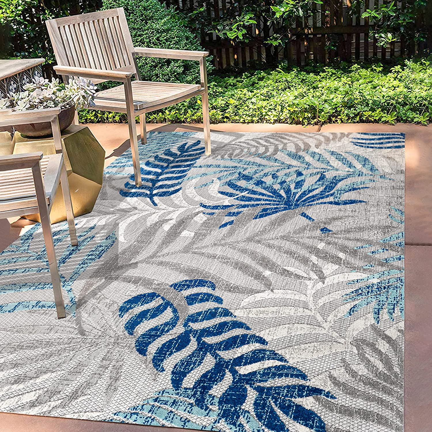 JONATHAN Max 84% OFF Y AMC100A-9 Tropics Palm Leaves Gray 2021new shipping free shipping Blu Outdoor Indoor