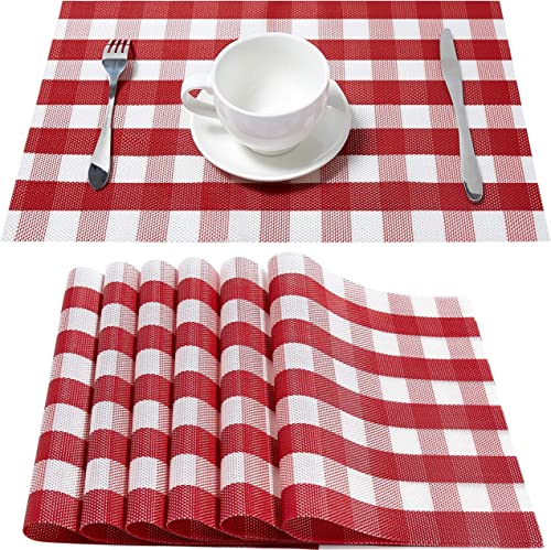 DOLOPL Farmhouse Placemats Buffalo Check Red and White Table Mats Set of 6 Easy to Clean Non-Slip Wipeable Place Mats...