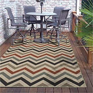 Superior Chevron Collection 5' x 8' Area Rug, Indoor/Outdoor Rug with Jute Backing, Durable and Beautiful Woven Structure, Contemporary Multi-colored Zig-Zag Pattern