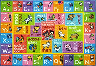 """KC CUBS Playtime Collection ABC Alphabet with Old McDonald's Animals Educational Learning Area Rug Carpet for Kids and Children Bedrooms and Playroom - 3' 3"""" x 4' 7"""""""