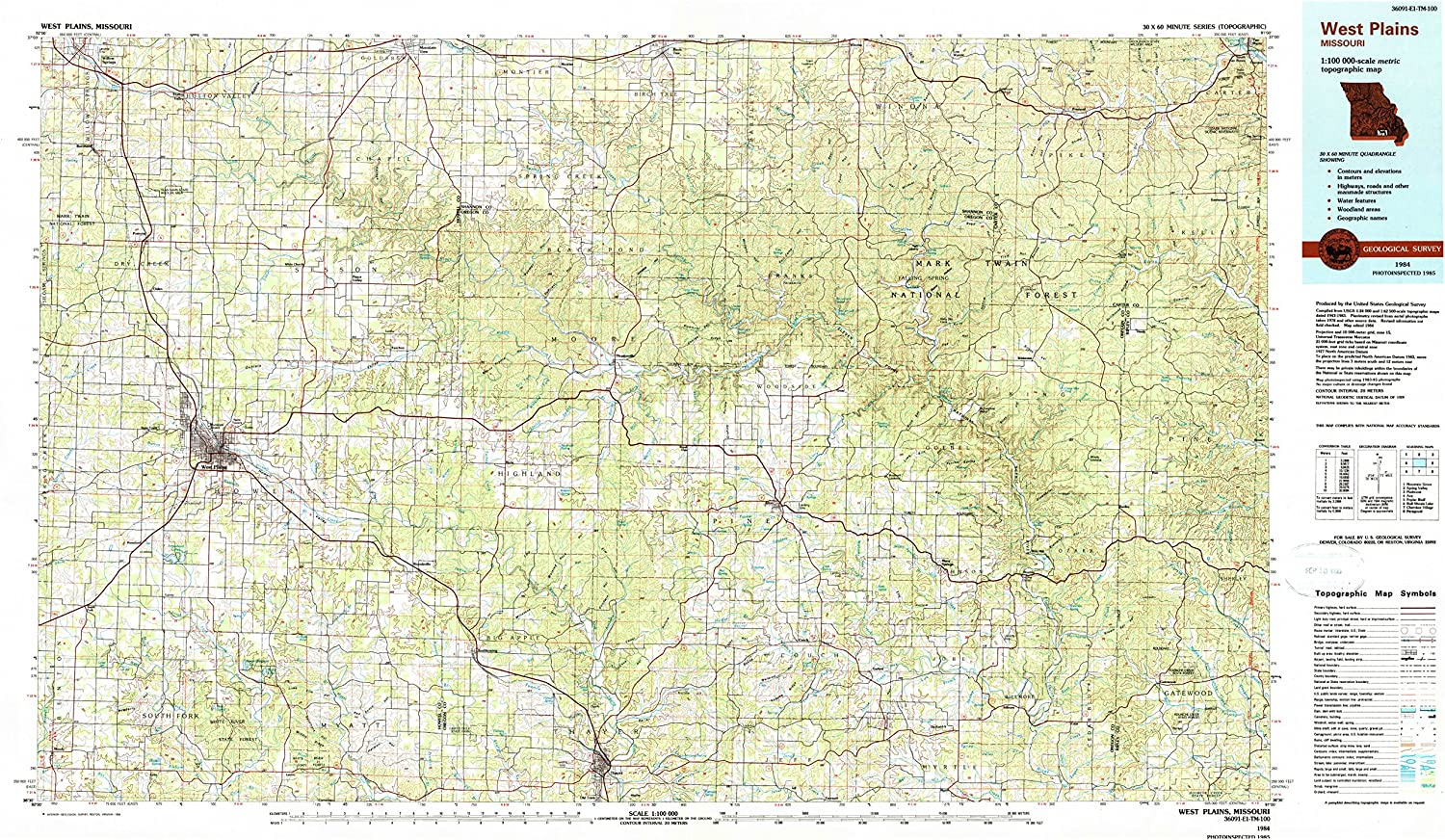 YellowMaps West Plains MO topo map Scale Max 53% OFF X Popular overseas 1:100000 Minu 30 60
