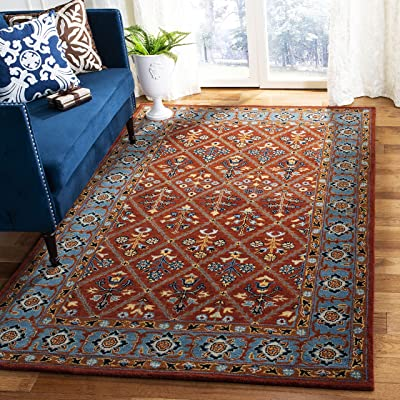 Safavieh Heritage Collection HG738Q Handmade Traditional Oriental Premium Wool Area Rug, 8' x 10', Red / Blue