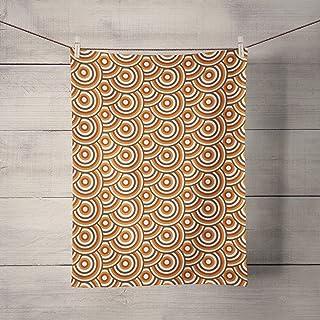 Paño de cocina marrón con diseño de círculos retro