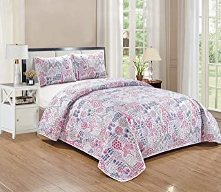 Kids Zone Home Collection Bedspread Paris Eiffel Tower White Pink Purple Taupe for Girls/Teens Eiffel Tower Trees Flowers New # Paris Park (Twin)