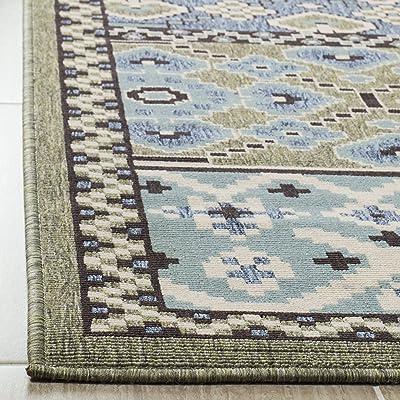Tapis rectangulaire d'intérieur audacieux et lumineux tissé , collection Véranda, VER093, en vert / bleu, 79 X 152 cm pour le salon, la chambre ou tout autre espace intérieur par SAFAVIEH.