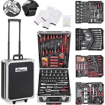TRESKO Boite à Outils 949 pièces en Chrome Vanadium | avec mallette en aluminium et poignée télescopique (Noir - 949 pièces)