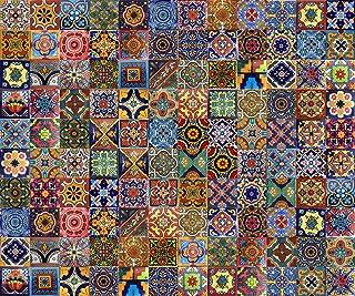 Cerames - Vivo - Azulejos decorativos de colores de la pared, mexicano, diseño de mosaico, para cuarto de baño y cocina, 5x5 cm, 120 piezas por paquete