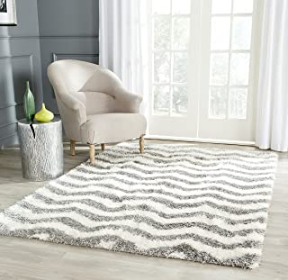 Safavieh Montreal Shag Collection SGM846B Ivory and Grey Area Rug (3' x 5')