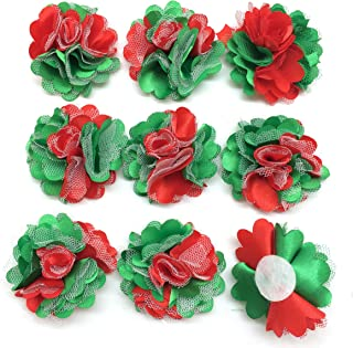 PEPPERLONELY 10PC Set Red Green Lace Chiffon Peony Fabric Flowers, 2 Inch