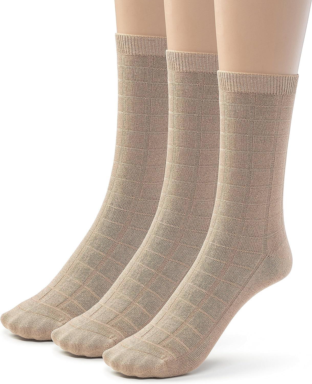 Silky Toes Womens Bamboo Dress Crew Socks, 3 or 6 Pairs Designed Casual Basic Socks