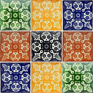 """COLOR Y TRADICIÓN 9 Mexican Tiles 4"""" x 4"""" Day of The Dead Skulls Hand Painted"""