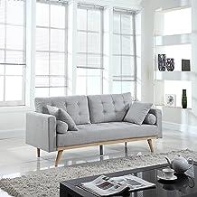 Divano Roma Furniture Mid-Century Sofas, Light Grey