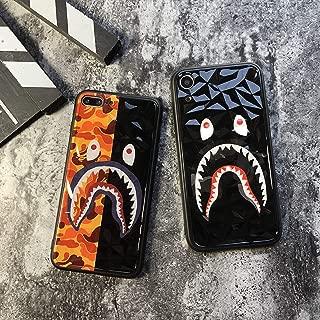Shark Teeth Camo Print Hard Shell 3D Diamond Clear TPU Case for iPhone 7/ iPhone 8/8 Plus/iPhone X/Xs/Xs Max/XR Shockproof Thin Case BAPE Supreme Protective Case (Orange/Black, iPhone XR)