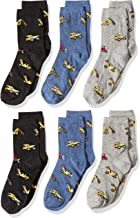Country Kids Boys' Digger Bulldozer Excavator Cotton Crew Socks, Pack of 6
