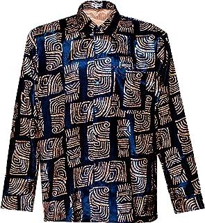 Thai Silk Men's Shirt Long Sleeve Bar Pattern