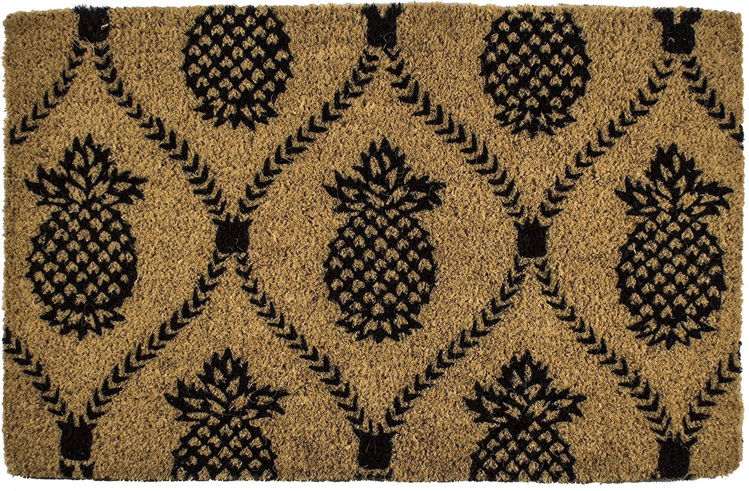 Entryways 9103W Bombing free shipping Pineapple Quality inspection Hand-Stenciled All-Natural Coconut Fi
