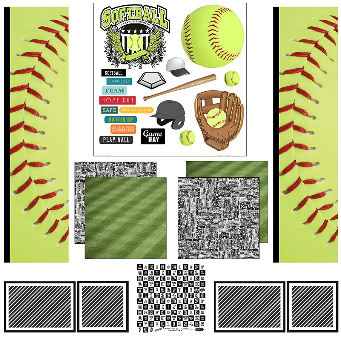Scrapbook Customs Themed Scrapbook Kit, Softball Sport Paper