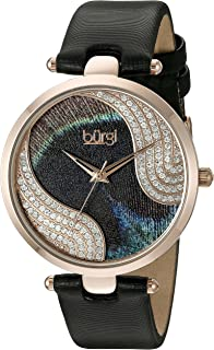 Burgi Women's BUR131 Swarovski Crystal Accented Peacock Feather Dial with Satin Over Leather Strap Watch