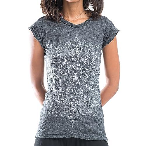 0885cba4 Sure Design Women's Lotus Mandala Crinkled Cotton T-Shirt