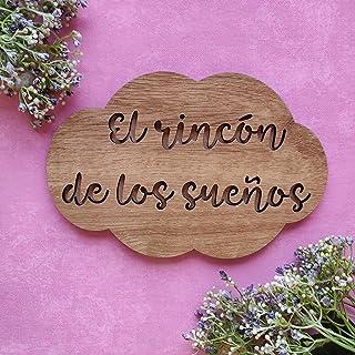 Placa cartel de madera en forma de nube personalizada con la frase que quieras, regalos originales y únicos, decoraciones ...