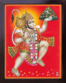 Hanuman Lifting Drongairi Mountain and Flying Over River, a Holy Hindu Religious Poster Painting with Frame for Worship Purpose