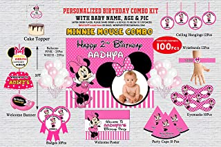 WoW Party Studio Personalized Minnie Mouse Theme Birthday Party Supplies with Birthday Boy/Girl Name - Combo Kit #1