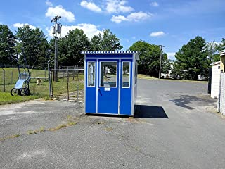 Prefabricated 6' x 6' Security Guard Shack/Ticket Booth/Parking Attendant Kiosk - Economy Model with Swinging Door