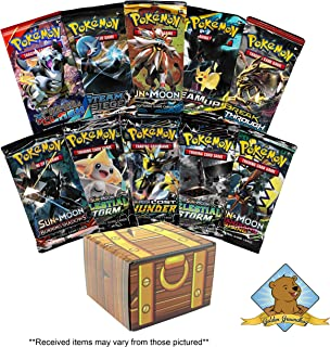 Pokemon TCG: 10 Booster Packs - 100 Cards Total! Includes Golden Groundhog Treasure Chest Storage Box!