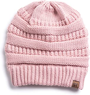 Silky Toes Womens Cable Knit Beanie Hats Winter Warm Hat