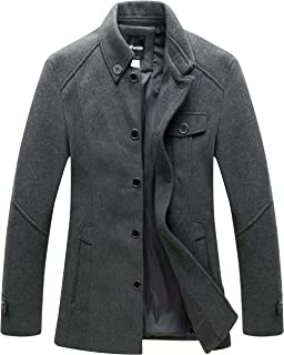Men's Stand Collar Pea Coat Single Breasted Outwear Peacoat Jacket