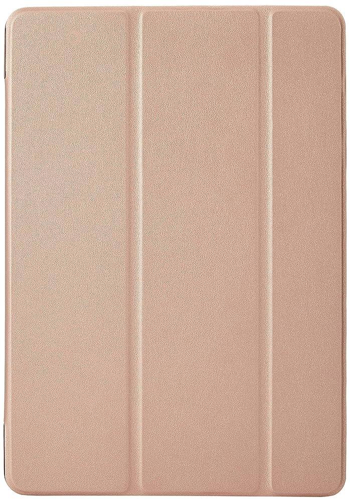 外向き音楽木製GLOW 第3世代 iPad air3ケース3つ折りケース 3点セット(保護フィルム&タッチペン) ローズゴールド 33742-4