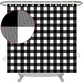 Wencal Buffalo Check Plaid Shower Curtain Farmhouse Bathroom Decor with Hooks Black White 72 x 72 Inches
