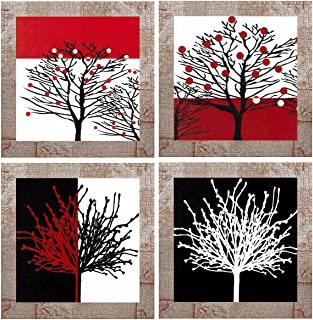 Indianara Set of 4 Colorful Abstract Modern Leaves Framed Wall Hanging Laminated Paintings Matt Art Prints 9.5 inch x 9.5 ...