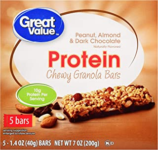 Chewy Protein Bars, Peanut Almond & Dark Chocolate, 10g Protein, 5 Ct These Bars Are Perfect For a Quick and EasySnack At Home, In The Gym or at The Office,Pack of 6