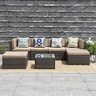 Wisteria Lane Outdoor Furniture 7 Piece Patio Wicker Sofa Set Washable Seat Cushions and Glass Coffee Table, Grey