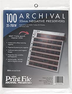 Print File 35mm Size Negative Pages Holds Seven Strips of Six Frames, Pack of 100