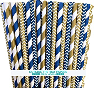 Outside the Box Papers Navy Blue and Gold Chevron and Stripe Paper Straws 7.75 Inches 100 Pack Navy Blue, Gold, White