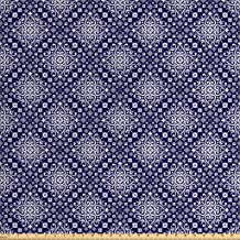 Lunarable Royal Blue Fabric by The Yard, Antique Moroccan Style Middle Eastern Inspired Ceramic Pattern Oriental Print, Decorative Fabric for Upholstery and Home Accents, 2 Yards, Indigo White