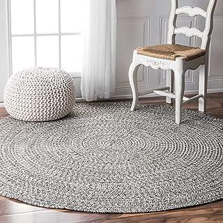nuLOOM Lefebvre Braided Indoor/Outdoor Rug, 6' Round, Light Grey