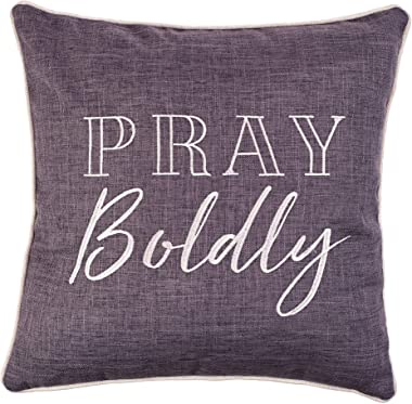 Christian Art Gifts Decorative Throw Pillow | Pray Boldly | Embroidered Charcoal Grey Couch Pillow and Inspirational Home Dec